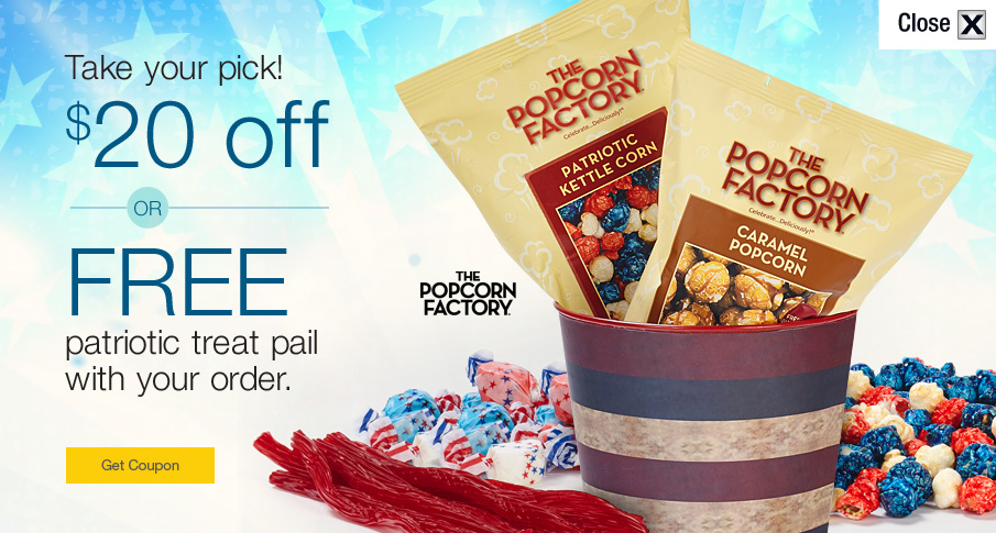 $20 off or FREE Patriotic Treat Pail