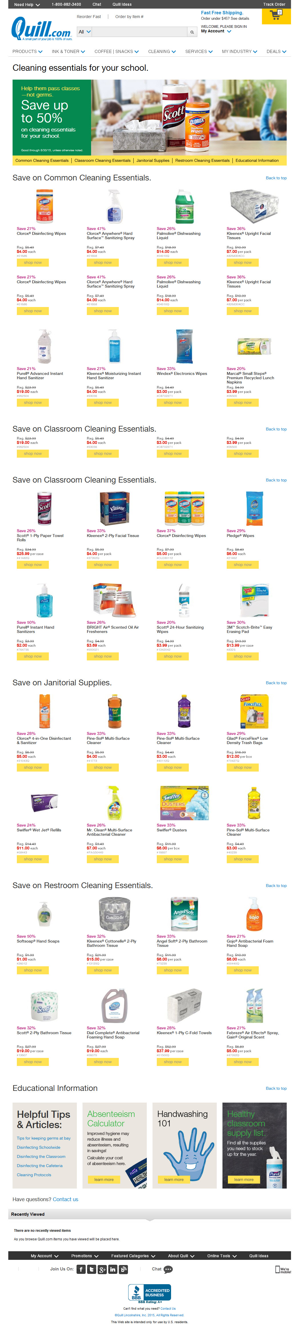 Back to School Supplies Sale campaign—August Landing Page