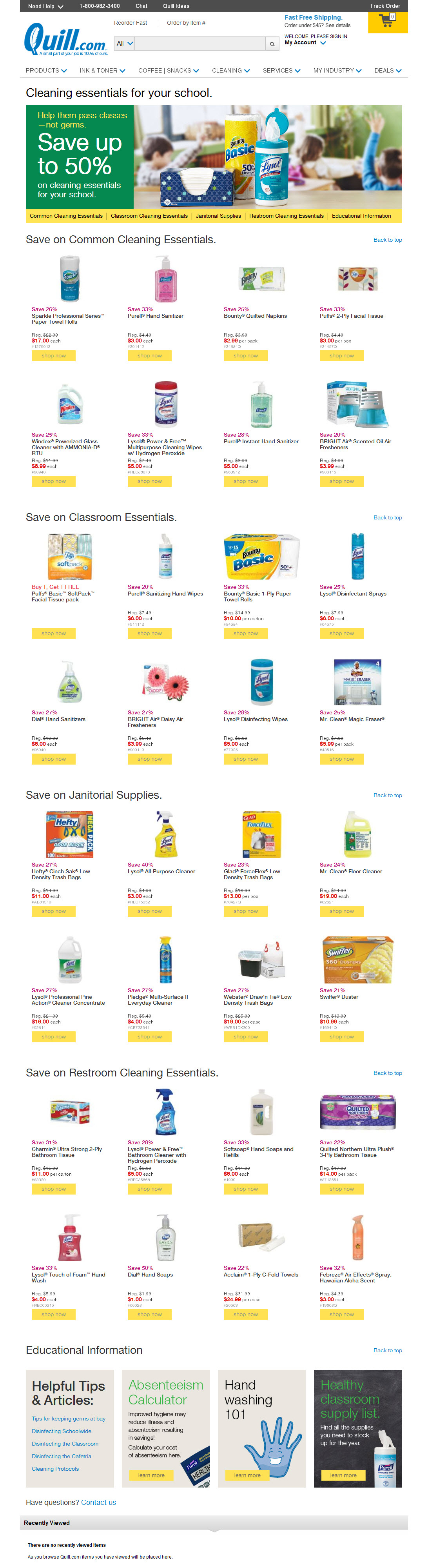 Back to School Supplies Sale campaign—July Landing Page