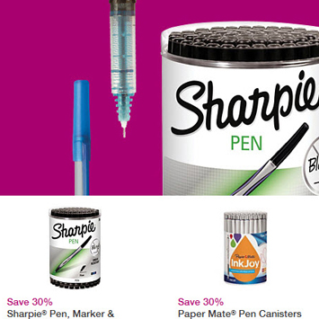 Writing Instruments landing page.