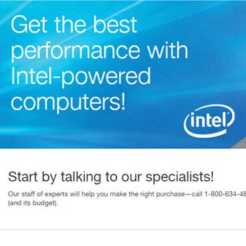 Intel Ad and Landing Page.